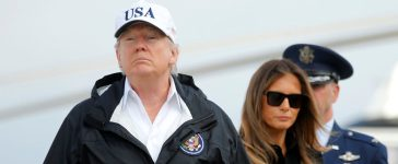 Trump boards Air Force One for travel to view Hurricane Irma response efforts in Florida, from Joint Base Andrews, Maryland