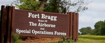 A sign of Fort Bragg is seen in Fayetteville, North Carolina
