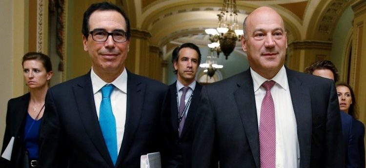 U.S. Secretary of the Treasury Steven Mnuchin and Director of the National Economic Council Gary Cohn walk after meeting with Republican law makers about tax reform on Capitol Hill in Washington, September 12, 2017. REUTERS/Joshua Roberts
