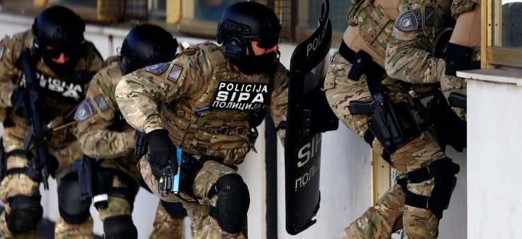 Participants of the European Union Force (EUFOR), Armed Forces, Border Police and State Investigation and Protection Agency (SIPA) of Bosnia and Herzegovina practice an anti-terrorism situation during an exercise at the Sarajevo International Airport, Bosnia and Herzegovina October 13, 2017. REUTERS/Dado Ruvic