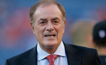 Al Michaels of NBC Sports works the game between the San Francisco 49ers and the Denver Broncos at Sports Authority Field at Mile High on October 19, 2014 in Denver. (Photo by Doug Pensinger/Getty Images)