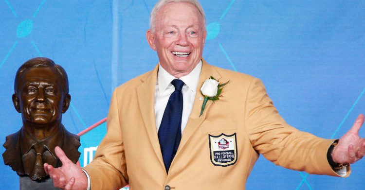 Dallas Cowboys owner Jerry Jones has the best reaction during the Pro Football Hall of Fame Enshrinement Ceremony at Tom Benson Hall of Fame Stadium in August 2017 in Canton, Ohio. (Photo by Joe Robbins/Getty Images)