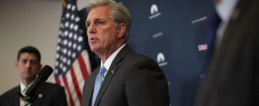 WASHINGTON, DC - SEPTEMBER 13: U.S. House Majority Leader Rep. Kevin McCarthy (R-CA) (R) speaks as Speaker of the House Rep. Paul Ryan (R-WI) (L) listens during a news briefing September 13, 2017 at the Capitol in Washington, DC. House Republican had a Conference meeting earlier to discuss GOP agenda. (Alex Wong/Getty Images)