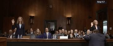 Joan Larsen and Amy Coney Barrett appear before the Senate Judiciary Committee in Sept. 2017. (CSPAN/screenshot)
