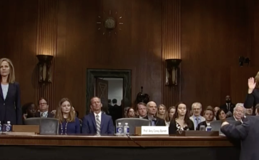 Joan Larsen and Amy Coney Barrett appear before the Senate Judiciary Committee in Sept. 2017. (CSPAN/screenshot)