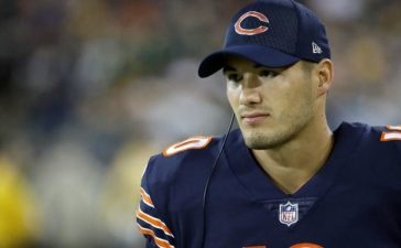 Mitchell Trubisky #10 of the Chicago Bears looks on from the sideline in the second quarter against the Green Bay Packers at Lambeau Field on September 28, 2017 in Green Bay, Wisconsin. (Photo by Jonathan Daniel/Getty Images)