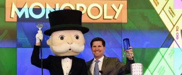 Mr. Monopoly and Hasbro senior vice president of global brand strategy and marketing, Eric Nyman celebrate after ringing the Nasdaq's closing bell at the Nasdaq MarketSite on March 19, 2015 in new York. (Photo: TIMOTHY A. CLARY/AFP/Getty Images)