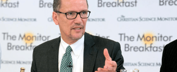 DNC Chairman Tom Perez talking to reporters on Tuesday, October 31 before a Christian Science Monitor newsmaker event. (Michael Bonfigli/The Christian Science Monitor)