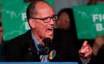 """DNC Chairman Tom Perez, speaks to a crowd of supporters at a Democratic unity rally at the Rail Event Center on April 21, 2017 in Salt Lake City, Utah. (Photo"""" George Frey/Getty Images)"""
