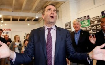 Virginia Lieutenant Governor Ralph Northam greets supporters during a rally in Richmond