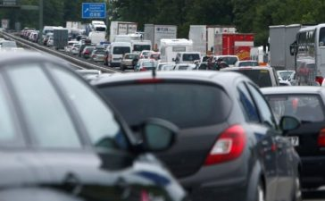 FILE PHOTO: Cars and trucks are stuck in traffic jam near Irschenberg, Germany