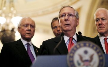 Senate Majority Leader Senator Mitch McConnell (R-KY) speak during a news conference accompanied by (L-R) Senator John Barrasso (R-WY), Senator Orrin Hatch (R-UT) and Senator John Cornyn (R-TX) following party policy lunch meeting at the U.S. Capitol in Washington May 12, 2015. REUTERS/Carlos Barria