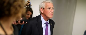 WASHINGTON, DC - MAY 16: Sen. Roger Wicker (R-MS) talks with reporters as he heads for his party's weekly policy luncheon at the U.S. Capitol May 16, 2017 in Washington, DC. Many Republican and Democratic senators expressed frustration and concern about how President Donald Trump may have shared classified intelligence with the Russian foreign minister last week at the White House. (Photo by Chip Somodevilla/Getty Images)