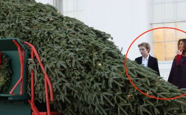 WASHINGTON, DC - NOVEMBER 20: First lady Melania Trump and her son Barron inspect the 19.5-foot balsam Fir that will serve as the official White House Christmas Tree at the White House on November 20, 2017. The tree is a Wisconsin grown Fir provided by the Chapman family of Silent Night Evergreens. (Photo by Mark Wilson/Getty Images)