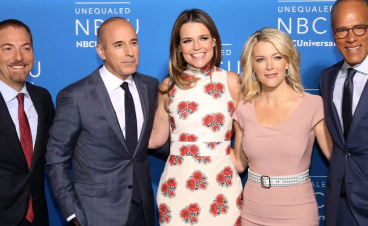 NEW YORK - MAY 15, 2017: Chuck Todd, Matt Lauer, Savannah Guthrie, Megyn Kelly and Lester Holt attend the 2017 NBCUniversal Upfront on May 15, 2017, in New York. Shutterstock/ JStone