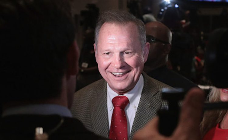 MONTGOMERY, AL - SEPTEMBER 26: Republican candidate for the U.S. Senate in Alabama, Roy Moore speaks to reporters at an election-night rally after declaring victory on September 26, 2017 in Montgomery, Alabama. Moore, former chief justice of the Alabama supreme court, defeated incumbent Sen. Luther Strange (R-AL) in a primary runoff election for the seat vacated when Jeff Sessions was appointed U.S. Attorney General by President Donald Trump. Moore will now face Democratic candidate Doug Jones in the general election in December. (Photo by Scott Olson/Getty Images)
