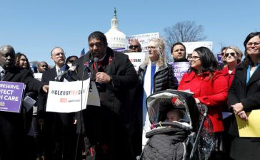 Rev. Dr. William J. Barber speaks during a protest against the repeal of the Affordable Care Act outside the Capitol Building in Washington, U.S., March 22, 2017. REUTERS/Aaron P. Bernstein