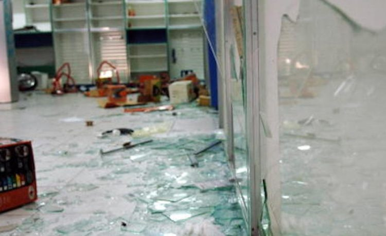 View taken on February 25, 2009 shows broken glass in a car repair shop in Fort-de-France, on the French Caribbean island of Martinique, on February 25, 2009, after Fort-de-France was the scene of riots and pillages overnight. Unions launched a strike in Martinique on February 5 against high-cost prices. Most shops, cafes, banks, schools and government offices have been shut and the strike has hit the key tourism industry. AFP PHOTO JEAN-MICHEL ANDRE (Photo credit should read JEAN-MICHEL ANDRE/AFP/Getty Images)
