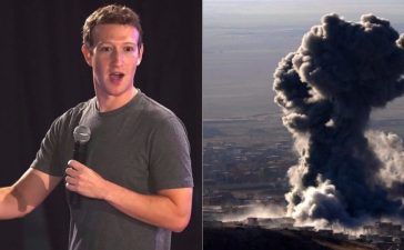 Left: Mark Zuckerberg (Photo: MONEY SHARMA/AFP/Getty Images) Right: Heavy smoke billows during an operation by Iraqi Kurdish forces backed by US-led strikes in the northern Iraqi town of Sinjar on November 12, 2015, to retake the town from the Islamic State group and cut a key supply line to Syria. (Photo: SAFIN HAMED/AFP/Getty Images)