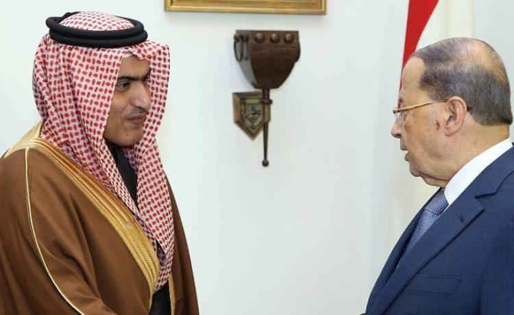 Lebanon's President Michel Aoun meets with Saudi Arabia's Arab Gulf Affairs Minister Thamer al-Sabhan at the presidential palace in Baabda