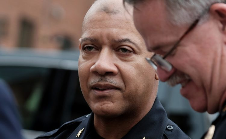 """Charlottesville Police Chief Al Thomas (C) speaks to people outside the Charlottesville police headquarters as the city continues to deal with the repercussions of violence that erupted at the white nationalist """"Unite the Right"""" rally in Charlottesville, Virginia, August 14, 2017. REUTERS/Justin Ide"""