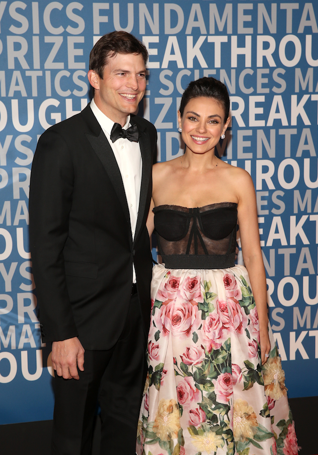 Ashton Kutcher and Mila Kunis attend the 2018 Breakthrough Prize at NASA Ames Research Center on December 3, 2017 in Mountain View, California. (Photo by Jesse Grant/Getty Images)