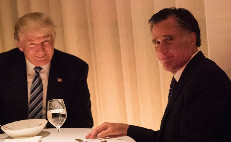 President-elect Donald Trump and Mitt Romney dine at Jean Georges restaurant, November 29, 2016 in New York City. (Photo: Drew Angerer/Getty Images)