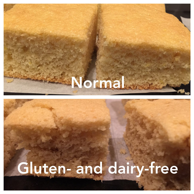 The conventional cake held together much better - I guess that's why gluten is called that.