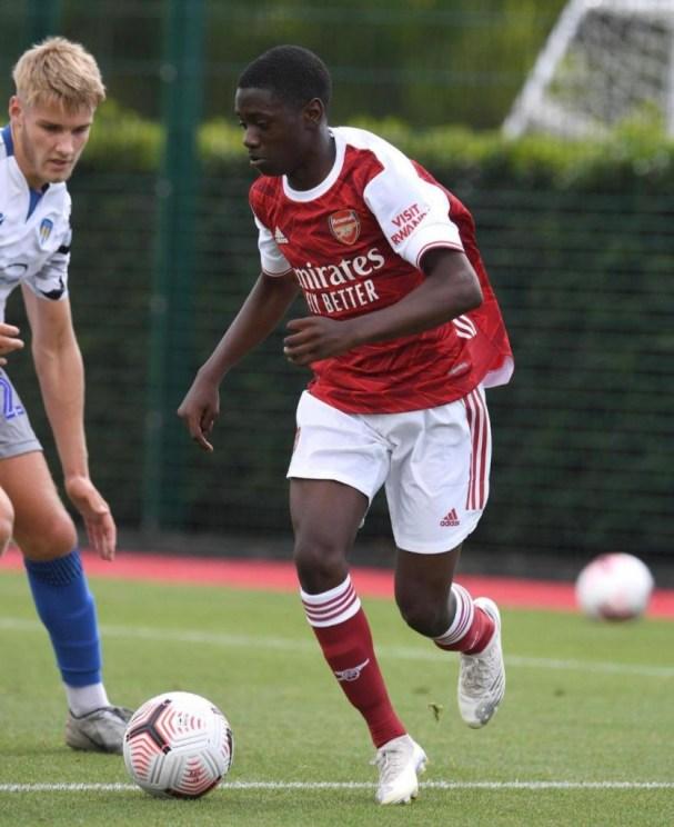 Charles Sagoe Jr with the Arsenal Academy (Photo via Sagoe Jr on Instagram)