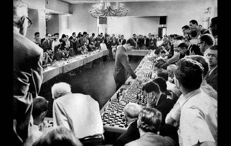 Bobby Fischer playing a simul in 1964.