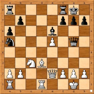 Black places the queen in the same file as Susan Polgar's king to create some tactical possibilities.