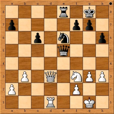 The position after Magnus Carlsen plays 28. Nf3.