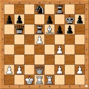 Position after Carlsen plays 21... Nd8.