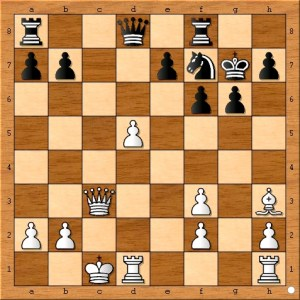 Position after Carlsen plays 16... Nf7.