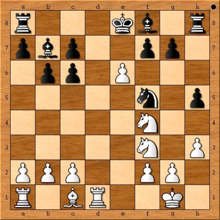 The position after Magnus Carlsen plays 14. e6.
