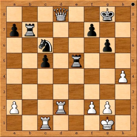 The position after Viswanathan Anand plays 30. d8=Q+