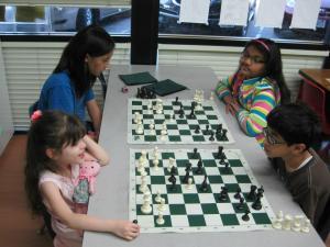Children enjoying chess at the Achiever Institute in Fremont.