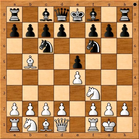 The position after Magnus Carlsen castles on move 4.