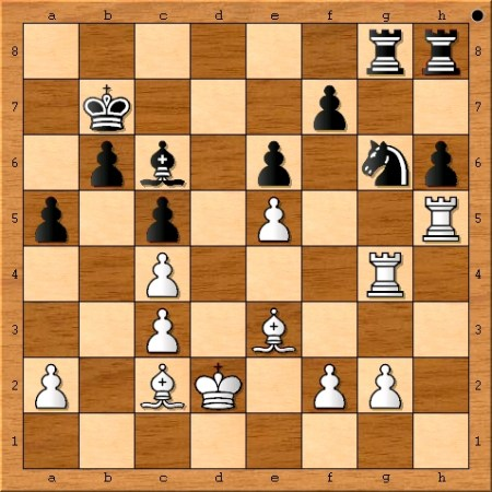 The position after Magnus Carlsen plays 26. Kd2.