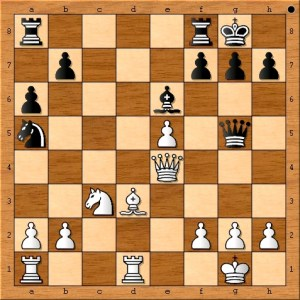 Susan Polgar's queen moves to a very active square while threatening checkmate on h7.