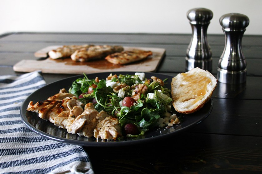 Apple Butter Glazed Chicken Salad Grapes Brussels Sprouts