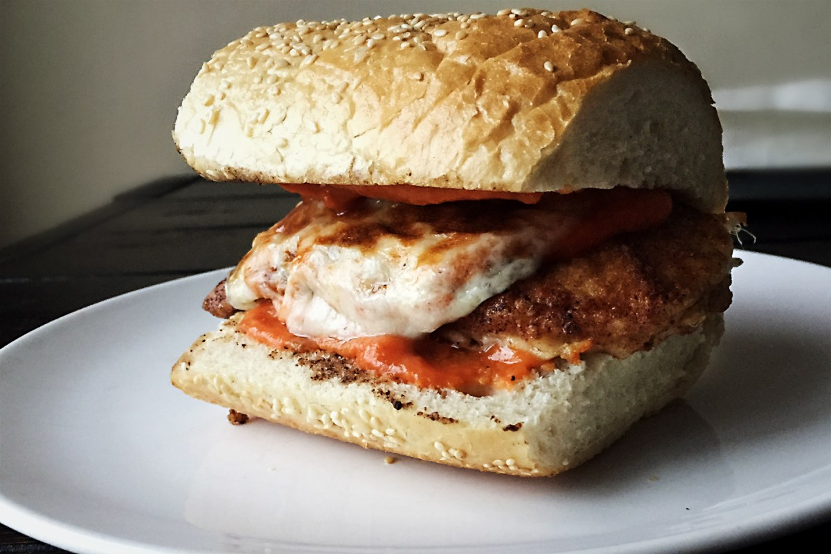 Chicken Parmesan Sandwiches with Roasted Red Pepper Sauce