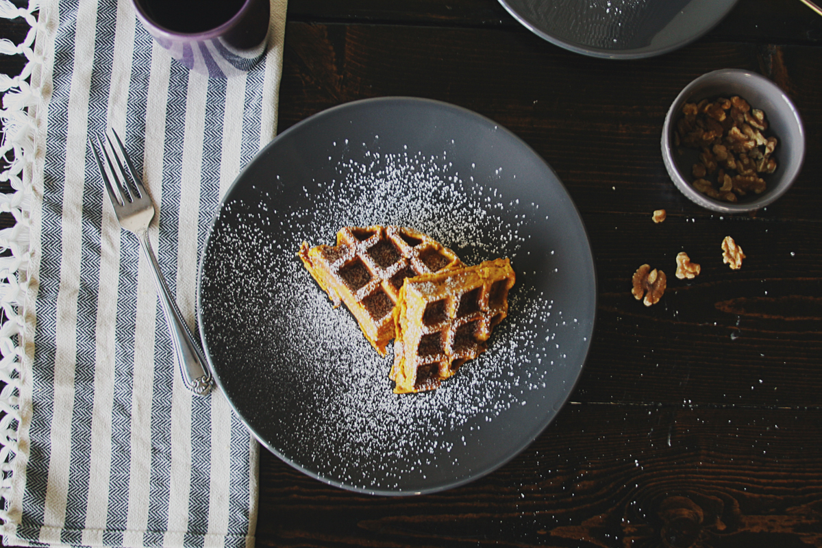 Pumpkin Banana Waffles with Walnuts