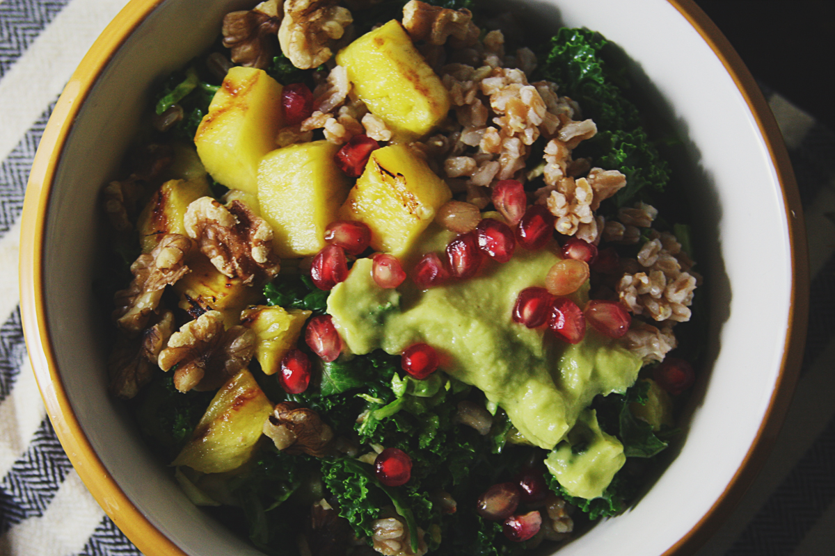 Grilled Pineapple Farro Kale Salad with Shaved Brussels Sprouts
