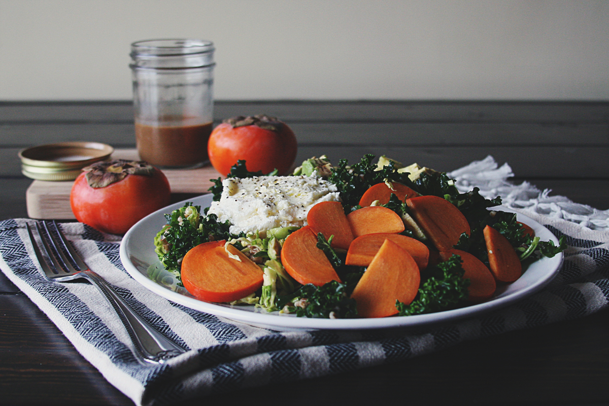 Persimmon Kale Winter Salad