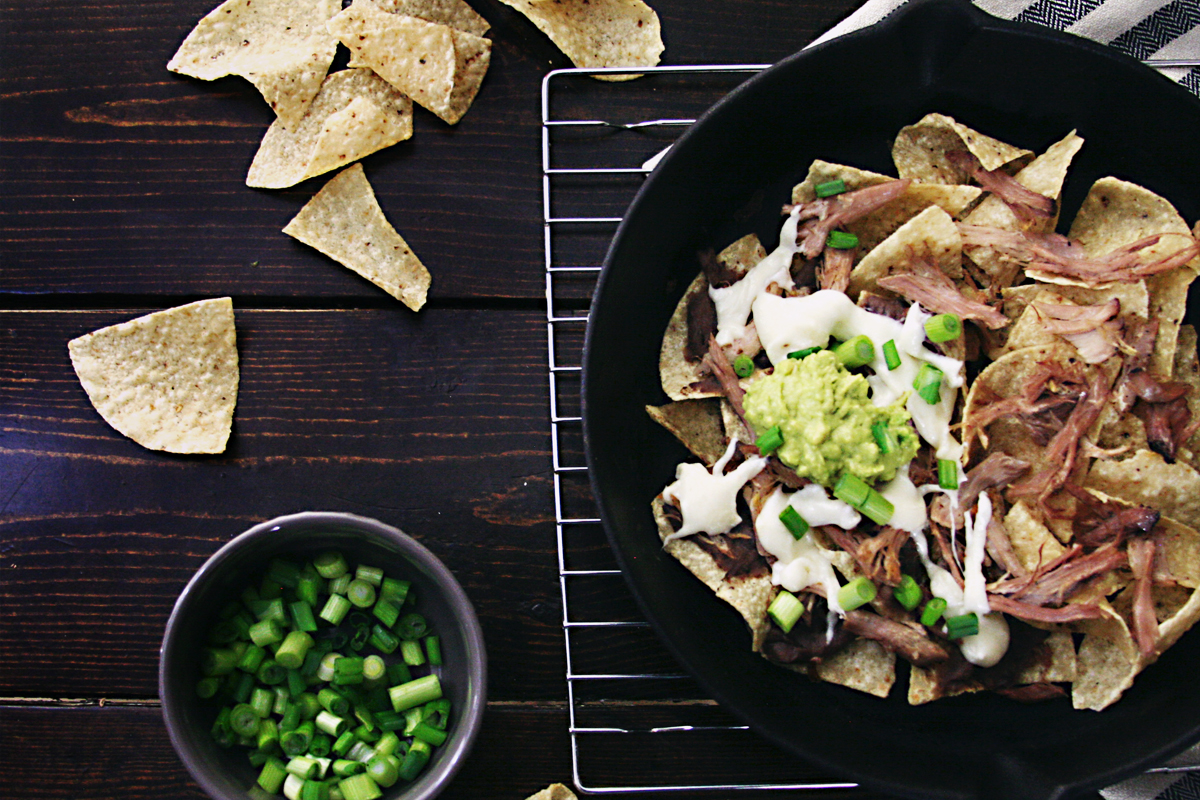 Slow Cooker Pulled Pork Nachos with Pepper Jack Queso