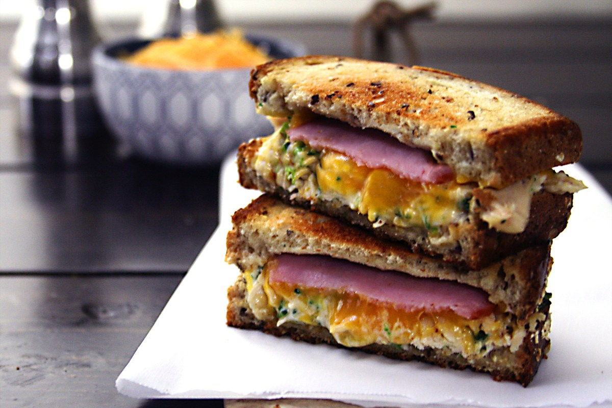 Chicken Broccoli Cheddar Grilled Cheese with Canadian Bacon