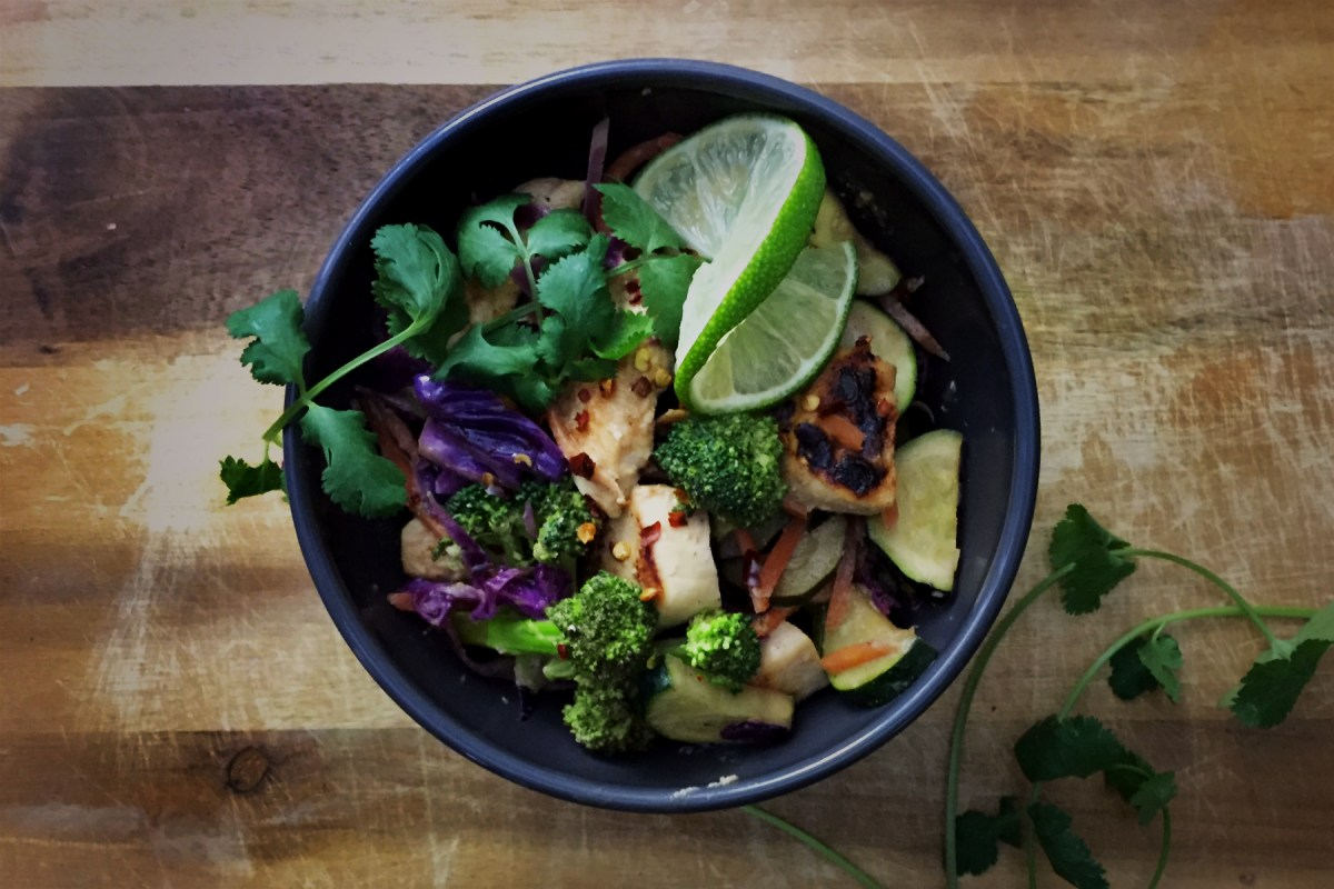 Chicken and Vegetable Stir Fry with Tahini Lime Ginger Sauce
