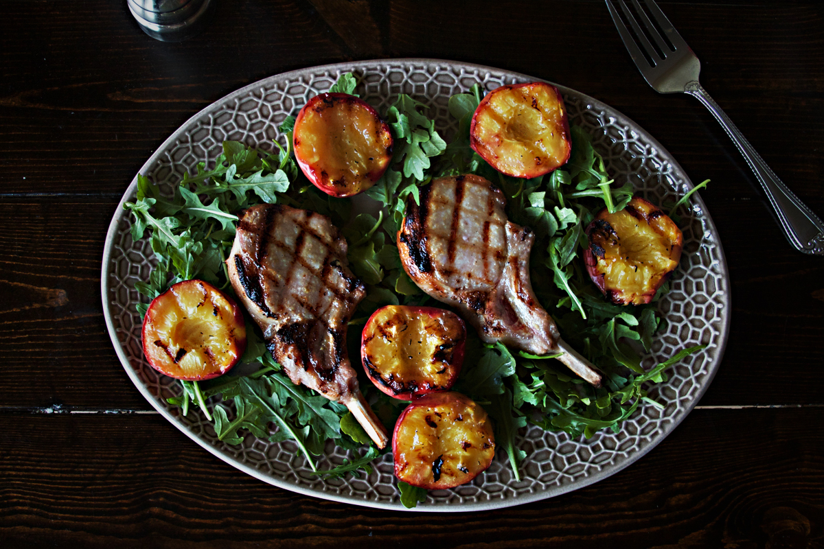 Brined Pork Chops with Grilled Peaches