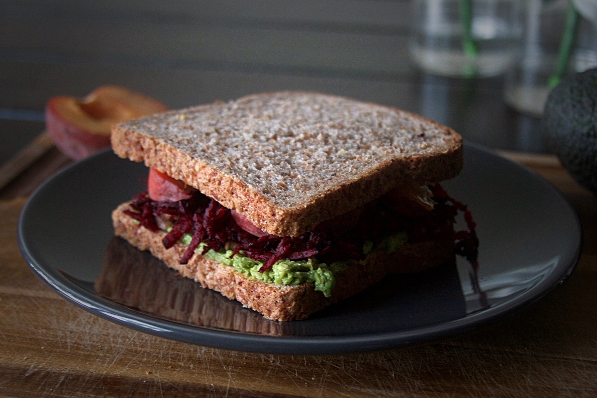 Peach Beet Sandwich with Avocado and Walnuts